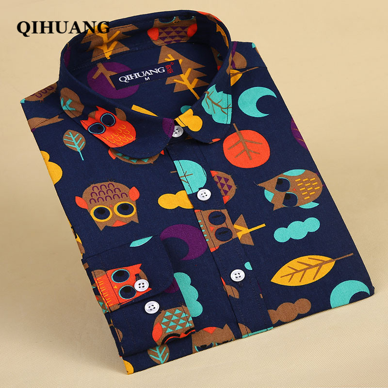 Qihuang 2019 moda feminina blusa de algodão camisa de manga comprida vintage turn-down collar print plus size feminino tops e blusas S-5XL
