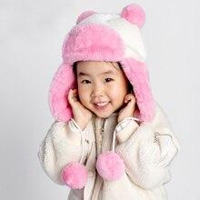 HT2729 Children Winter Hat Soft Fleece Ski Earflap Cap Kids Boys Girls Thick Warm Russian Child Cute Ear Windproof Trapper