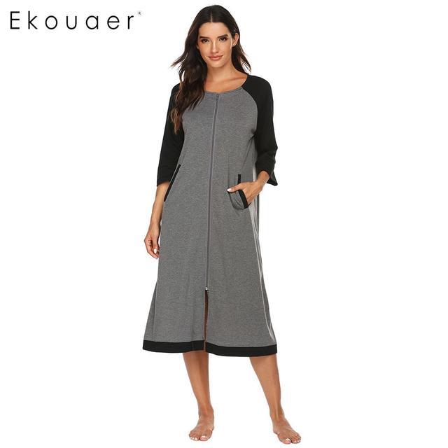 Ekouaer 女性ロングバスローブジッパー閉鎖ローブ SleepwearO ネック半袖ローブ女性ドレッシングガウン部屋着ナイトウェア