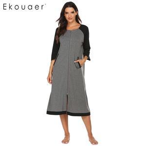 Image 1 - Ekouaer женский халат на молнии, длинный халат с полурукавами и круглым вырезом, халат для сна