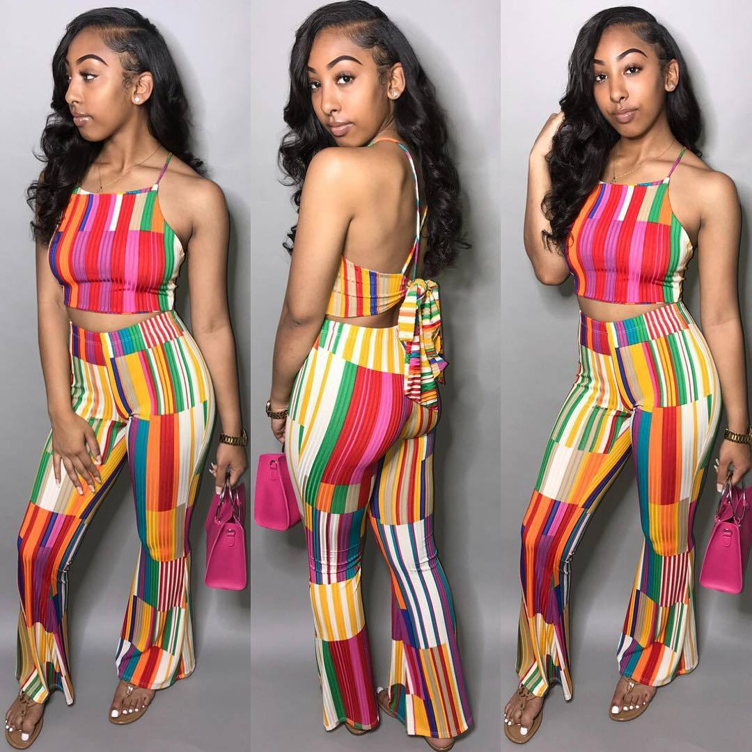 Ls6123  Europe And America Hot Selling Irregular Printed Tie-dye Contrast Color Rainbow Striped Pants Set