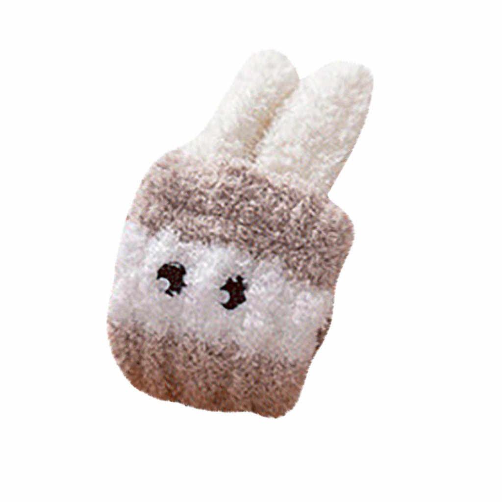 ถุงเท้าผู้หญิงผ้าฝ้าย Breathable Soft Causal กระต่ายหู Stripe พิมพ์หนาหนา Fuzzy Coral กลางหลอดถุงเท้า #35
