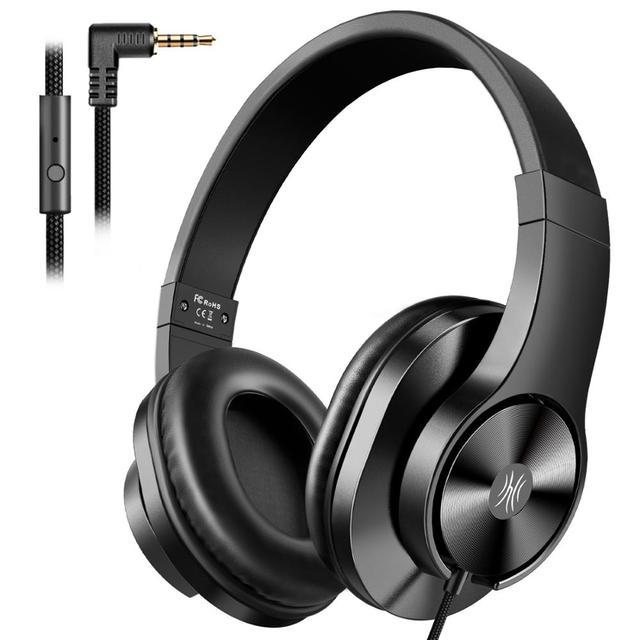 Oneodio T3 auriculares por encima de la oreja con cable, auriculares de graves estéreo con micrófono, auriculares ajustables para teléfono móvil