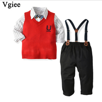 Vgiee Kids Boy Children Set for Birthday Party and Wedding Outfit Clothes Full Cotton Solid Boys Set Clothing CC704