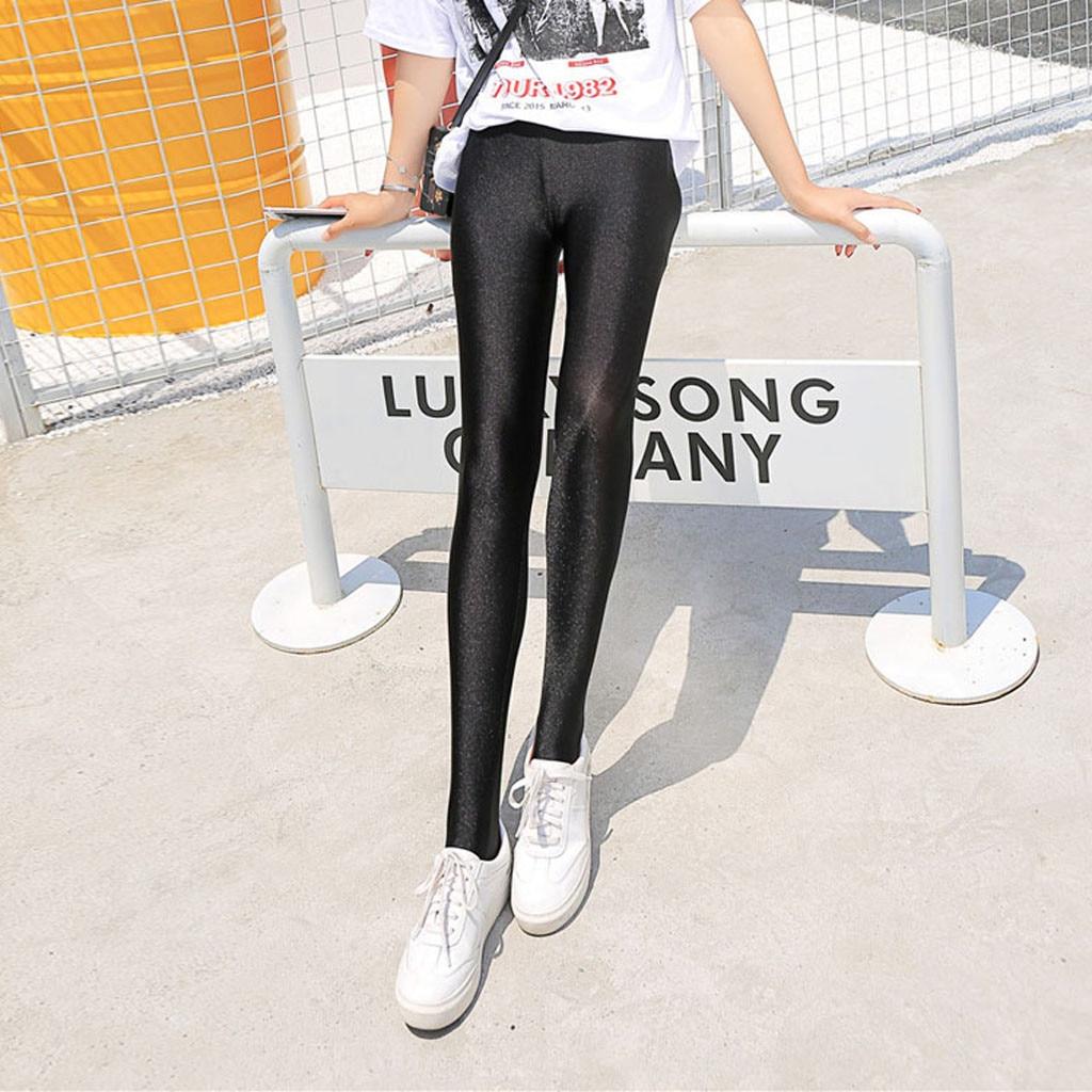 Hot Women High Waist Stretch Skinny Shiny Spandex Leggings Tight Pants Slim Fit