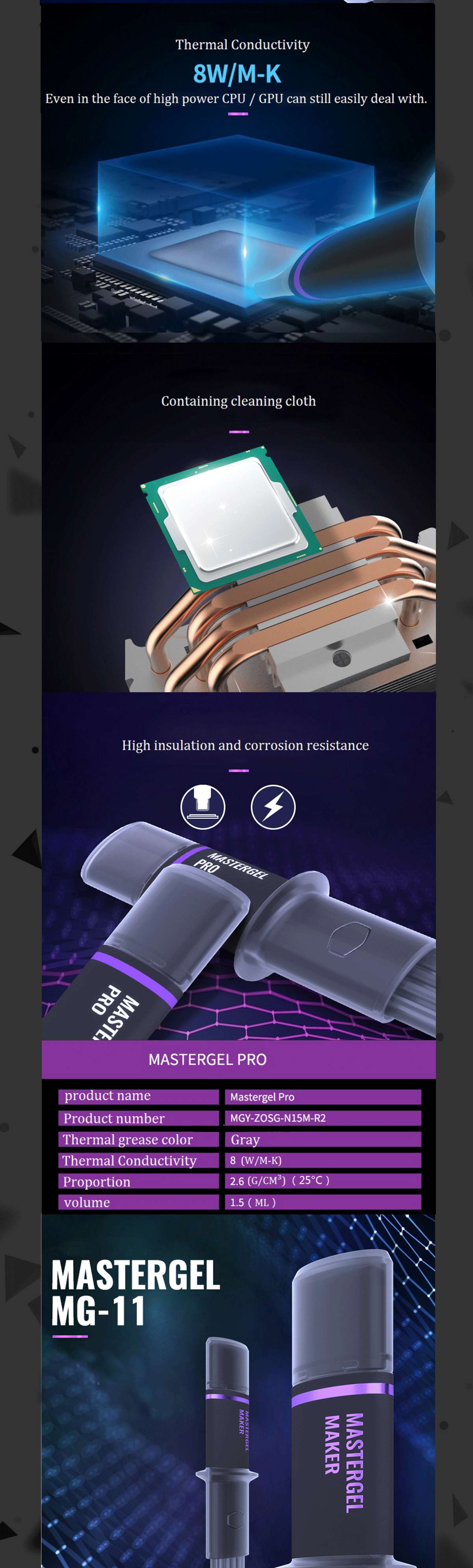 Cooler Master Mastergel High Performance Thermal Grease, Paste Compound Silicone Flat Nozzle, Precise And Even, High Conductivity To Aid Heat Transfer MG-5 MG-8 MG-11