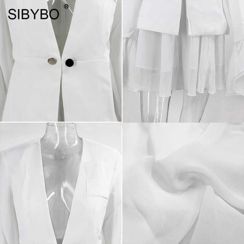 SIBYBO フレアスリーブメッシュにスプライシングセクシーなツーピースセット女性ディープ V ネックフリルの女性ブレザーとスカートセットエレガントなパーティーセット女性