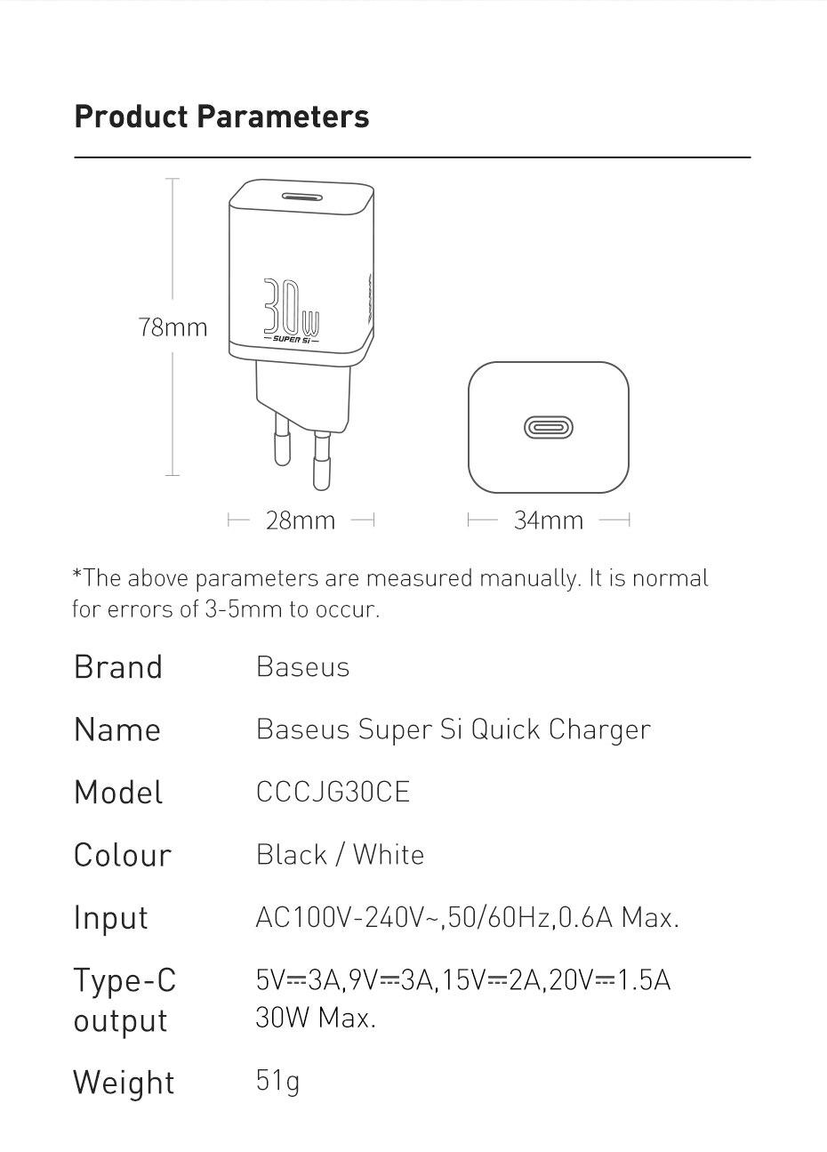 Baseus Super Si Pro Quick Charger C+U 30W US Black CCSUPP-D01  13