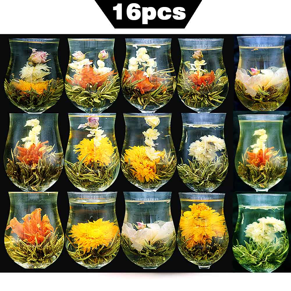 16 PCS Pieces Different KINDS Handmade Blooming Tea Balls Blooming Flower Tea Chinese Herbal Artistic Blossom Gift Packing