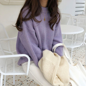 Ailegogo Women Autumn Winter O-neck Knitted Sweater Casual Loose Fit Knit Tops Female Korean Style Thick Outwear 1
