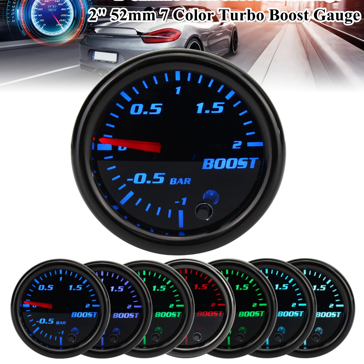 רכב מד 2 אינץ 52mm טורבו Boost מכאני מד לחץ ואקום מטר-12 בר 7 צבע LED שחור לן 12V