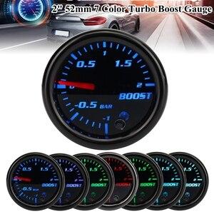 Car Gauge 2inch 52mm Turbo Mechanical Boost Gauge Vacuum Press Meter -12 Bar 7 Color LED Black Len 12V(China)
