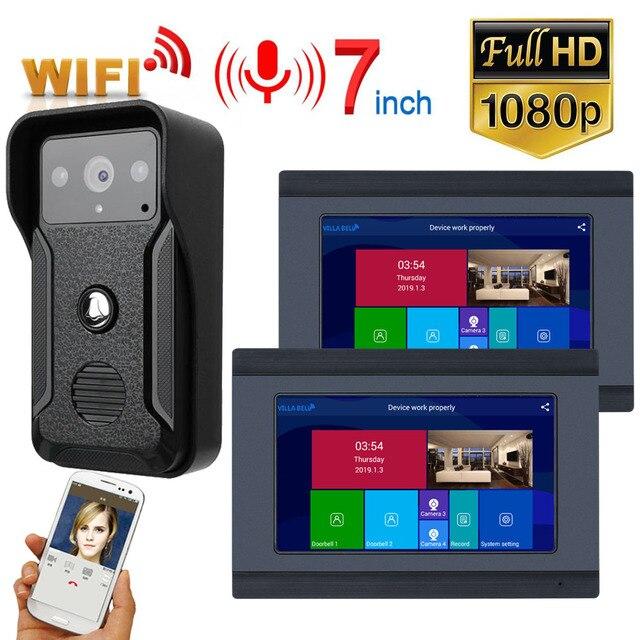 1080P 7 Inch Wireless/WIFI Smart IP Video Door phone Doorbell Intercom System with 3 Night Vision Monitor + 2 Camera