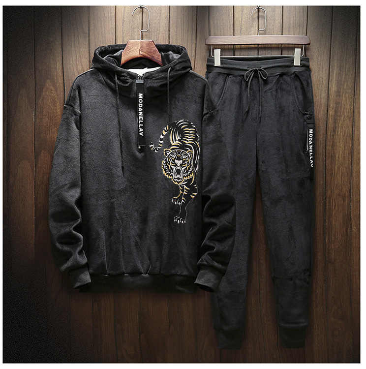 Mannen Velours Casual Volledige Hoodies Gym Trainingspak Sport Sweats Jasje Bottom Pak Broek Broek Trainingspak Outfit Tijgerprint