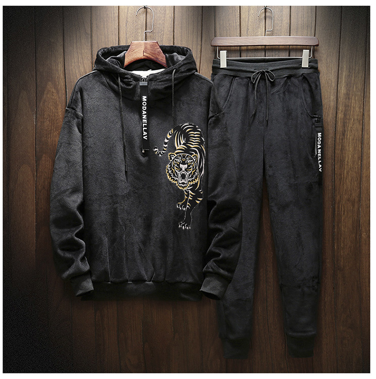 Men Velour Casual Full Hoodies Gym TrackSuit Sport Sweats Jacket Coat Bottom Suit Trousers Pants Track Suit Outfit Tiger Print