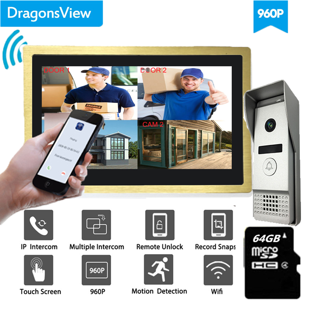 Dragonsview  10 Inch Large Screen Wifi Wireless Video DoorPhone Doorbell Intercom System Wide Angle 960P HD Voice Message Record