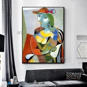 Image 4 - جديد مجردة الشكل الفن اليدوية بيكاسو لوحات الاستنساخ الحديثة النفط الطلاء قماش جدار ديكور فني للمنزل جدار صور الفن