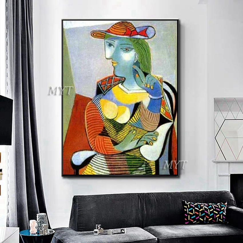 Image 4 - New Abstract Figure Art Handmade Picasso Paintings Reproduction  Modern Oil Painting Canvas Wall Art Home Decor Wall Pictures  ArtPainting
