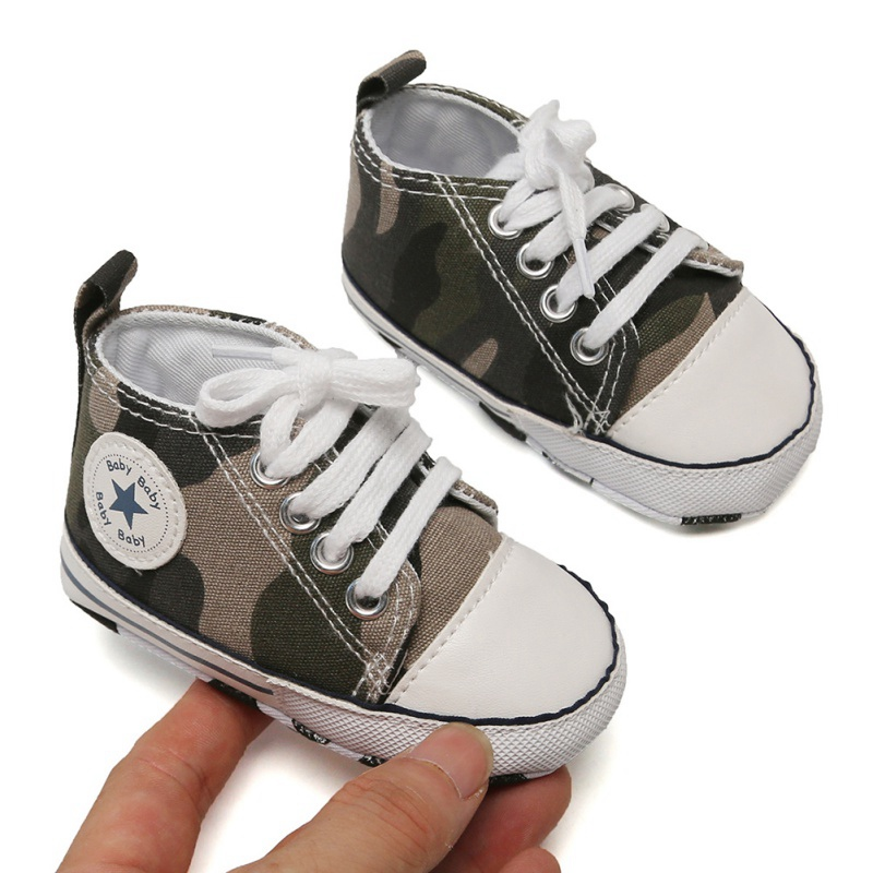 Baby Toddler Canvas Sneakers Newborn Baby Boys Girls First Walkers Shoes Infant Toddler Soft Sole Anti-slip Baby Shoes With Star
