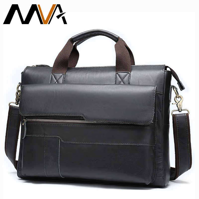 MVA Men's Briefcase Genuine Leather Laptop Bag Men's Leather Bag Office Bags For Men Laptop Briefcase Lawyer Men Document Bags Business Totes 8615