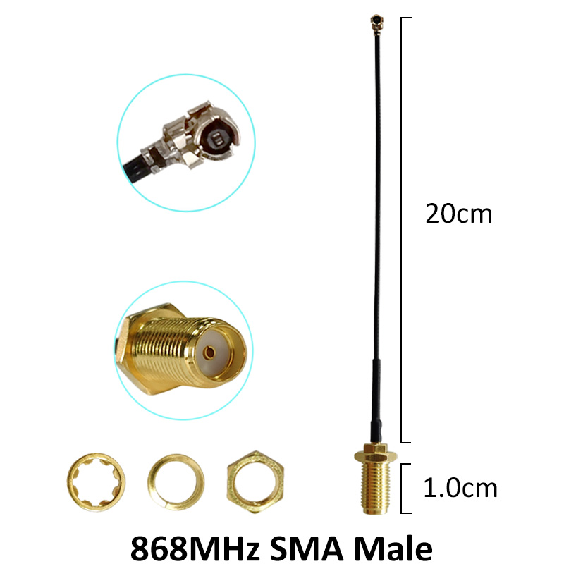 Image 5 - 10 Uds 868 MHz 915 MHz antena 5dbi conector macho SMA GSM 915 MHz  868 MHz antena antenne   21cm RP SMA/u FL Cable PigtailAntenas de  comunicaciones