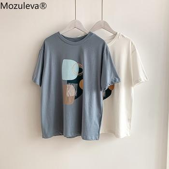 Mozuleva Summer T-shirt 2021 O-neck Abstract Art Printing Tops Short Sleeve Loose Cotton T-shirt Women Chic Girls Harajuku Tees 1