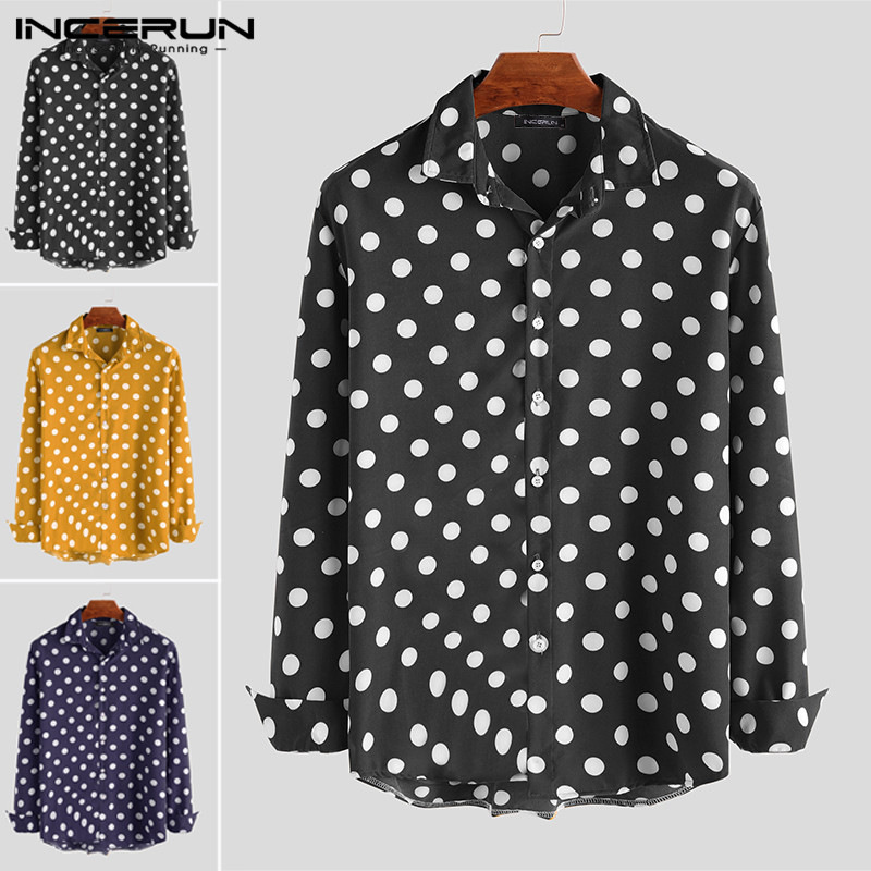 Autumn <font><b>Men</b></font> <font><b>Polka</b></font> <font><b>Dot</b></font> <font><b>Shirt</b></font> Long Sleeve Button Lapel Casual Brand Chic Camisa Fashion Business Social <font><b>Men's</b></font> <font><b>Shirts</b></font> 2019 INCERUN image
