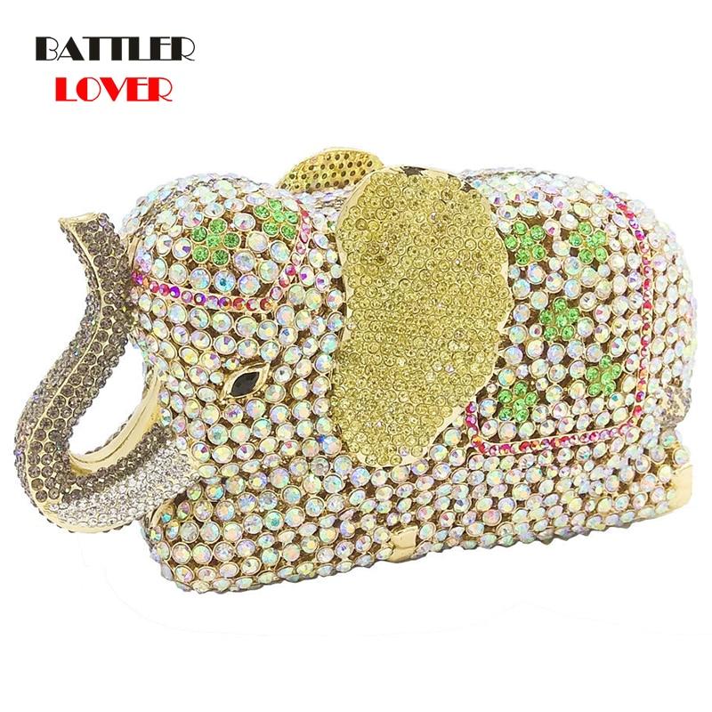 Bags for Women Elegance 3D Elephant Shape Gold Crystal Women Evening Handbag and Purse Metal Wedding Prom Minaudiere Clutch Bag
