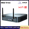 Mini Baum AMD Micro PC Gaming Computer Ryzen 7 4800H 8 Core Nuc M.2 NVMe Win10 Pro Radeon Graphics HD DP 4K Display AC AX WiFi6
