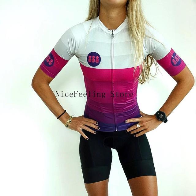 Roupa de ciclismo feminina manga curta, equipamento de equipe corporal sexy de tri skinsuit, roupas de ciclismo personalizadas, triathlon, 2019 4