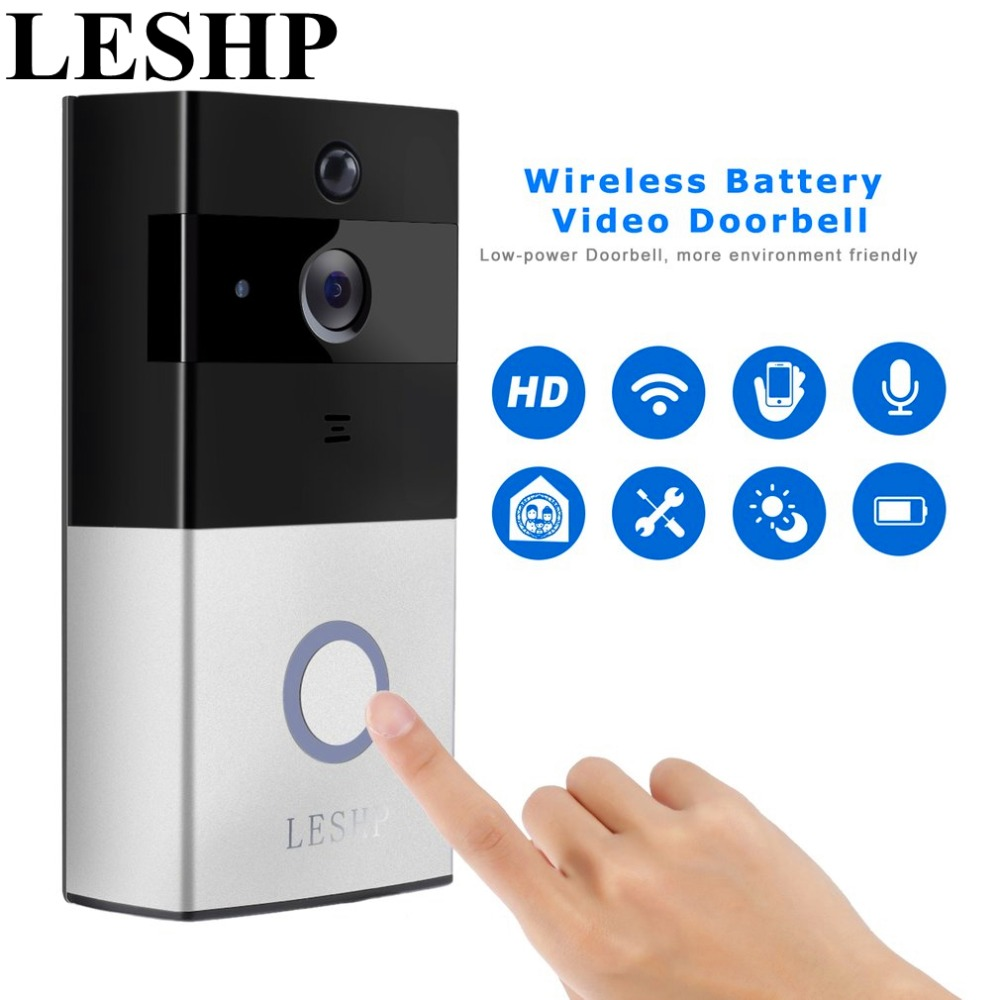 LESHP Video Doorbell 1080P Wireless WiFi Ring Door Bell HD 2.4G Phone Remote PIR Motion Two way Talk Home Alarm Security