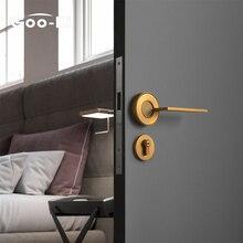 Goo-Ki Nordic Silent Door Lock Bedroom Door Handle with Lock Interior Security Door Handle Lock Cylinder Security Mute Door Lock