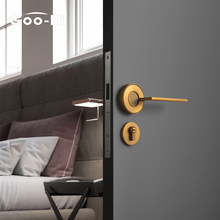 Goo-Ki Nordic Silent Door Lock Bedroom Door Handle with Lock Interior Security Door Handle Lock Cylinder Security Mute Door Lock
