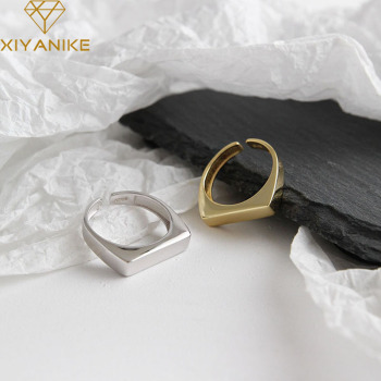 XIYANIKE 925 Sterling Silver Opening Rings Korean Simple Geometric Rectangle Handmade Jewelry Wedding Accessories for Women Gift 1