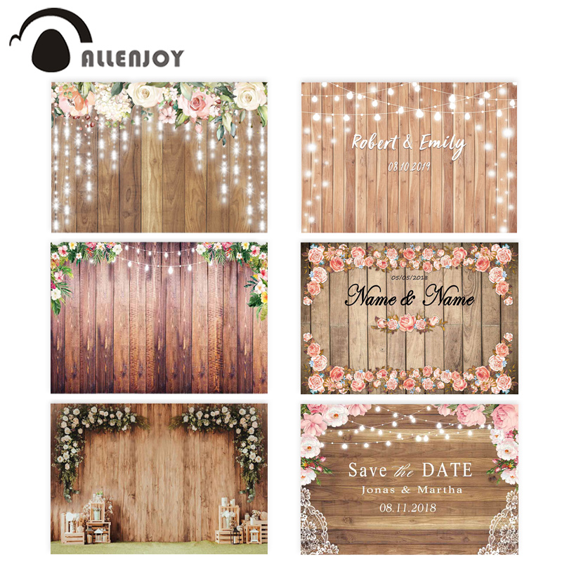 Allenjoy Wedding Photography Backdrop Spring Rustic Wooden Flower Party Glitter Love Background Curtain Photocall Photozone