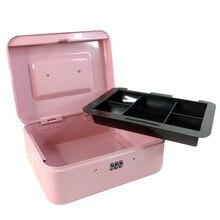 Caja de Seguridad portátil con contraseña para niños, almacenamiento de joyas, escuela, oficina, 4 tamaños, color rosa, nueva