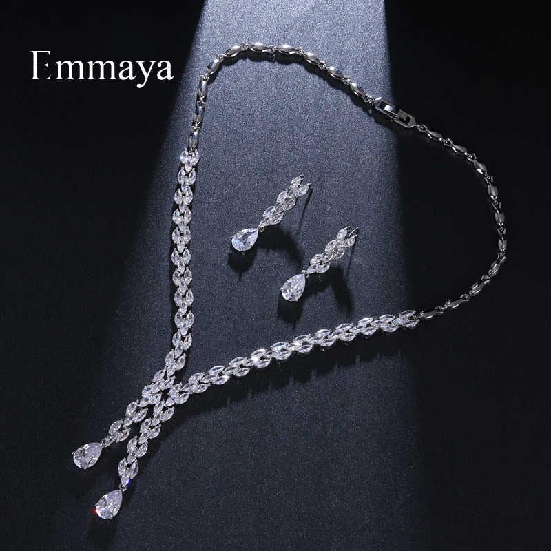 Emmaya Asymmetrische Ontwerp Waterdrop Vorm Verzilverd Ketting/Oorbel Mode Gift Cubic Zirkoon Voor Vrouwen Exquisite Ornament