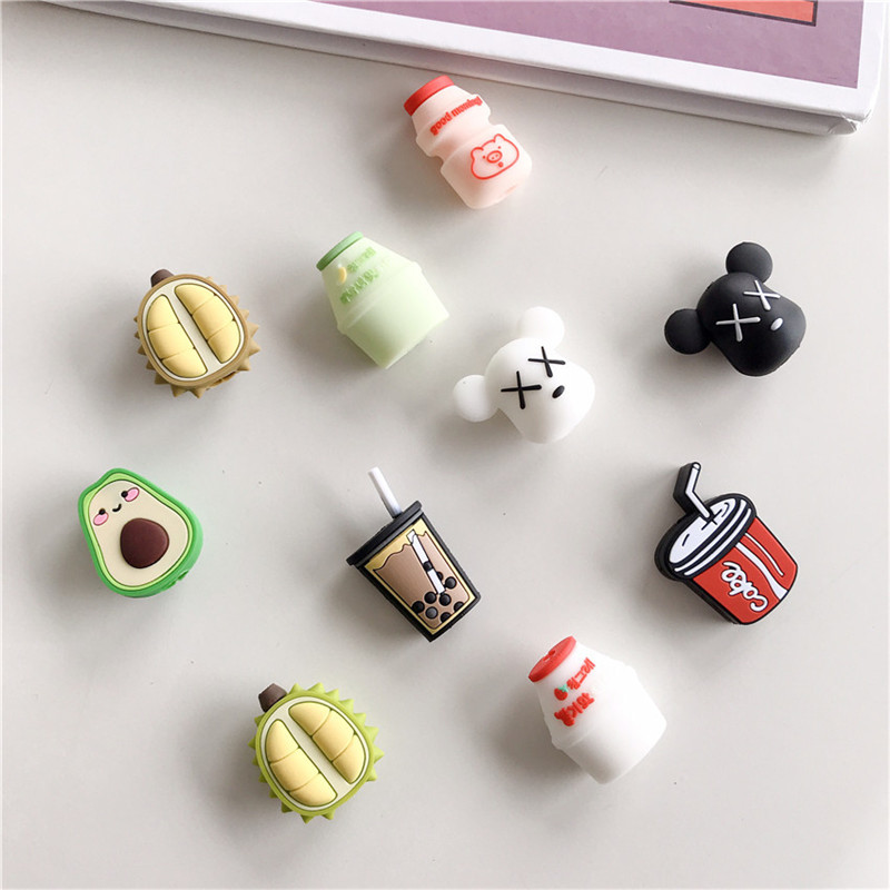 Cute Drink Pattern USB Cable Protector Soft Silicone Charger Clip Organizer Protect For IPhonexs Cable Winder