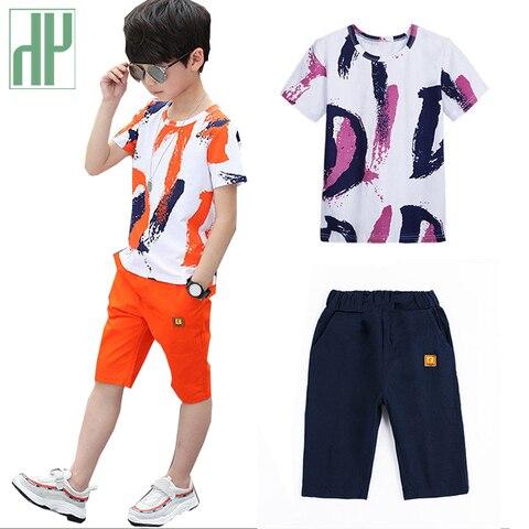 verao criancas roupas roupas de algodao meninos adolescentes roupas casuais terno criancas manga curta camisa