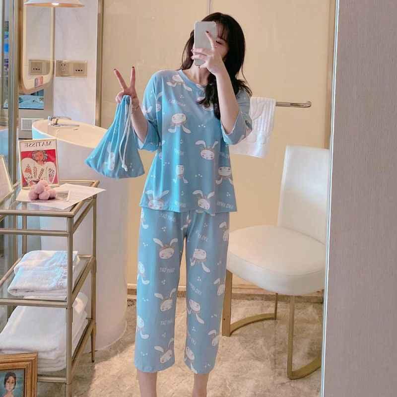 Vrouwen Thuis Pak Drie Kwart Mouwen Leuke Cartoon Homewear Losse Ongedwongen Thuis Custome