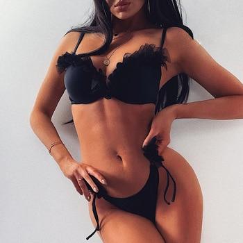 Sexy v neck bikini 2019 solid brazilian swimsuit female Ruffle string swimwear women High cut bathing suit Push up biquini XL 1