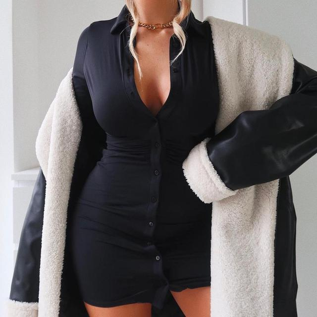 Cryptographic Ruched Black Women's Shirt Dress Fashion Casual Turn-Down Collar Button Up Women's Mini Dresses Bodycon Solid 2