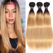 FASHION LADY Pre-Colored Brazilian Straight Hair Human Hair Weave 1B/27 Ombre Human Hair Bundles 3/4 Bundle Per Pack Non-Remy