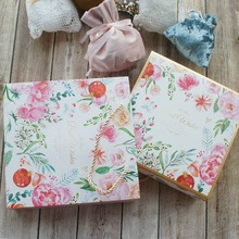 20*20*6cm 3set Gold Best with Flower Design Paper Box + Bag As Baby Shower Birthday Wedding Gift Packaging Use