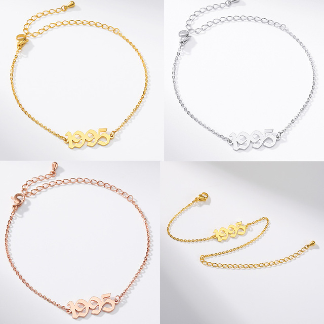 Stainless Steel Birth Year Anklets Gold Old English Year Number 1995 Anklet Bracelet Foot Chain Party Accessories For Kids Gift