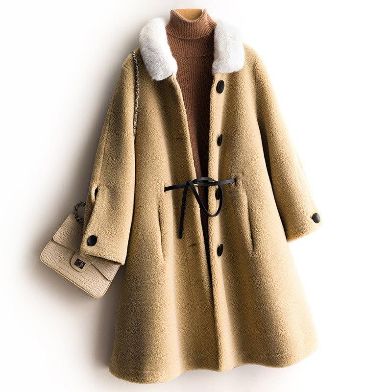 Nueva chaqueta de invierno 2019 abrigo de tela de gamuza de lana para mujer Falda larga de Cachemira Cuello de piel abrigo de lana mezcla excelente valor - 5