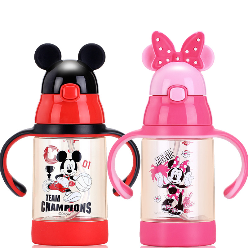 Disney Baby Sippy Cup Children Straw Cup With Handle PPSU Infant Milk Cup With Measuring Summer