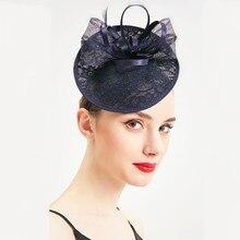 Wedding Woman Hat Royal Banquet Headdress Fascinator Blue Jockey Club Lady For Elegant Pillbox Linen Fedora Party Church