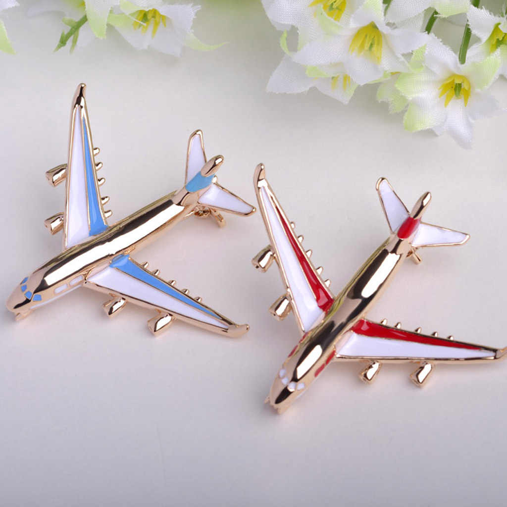 Safety Pin Brooches Sweater Jewelry Fashion Airplane Aircraft Jet Flight Collar Brooch Pin Corsage Badge Women Men Jewelry
