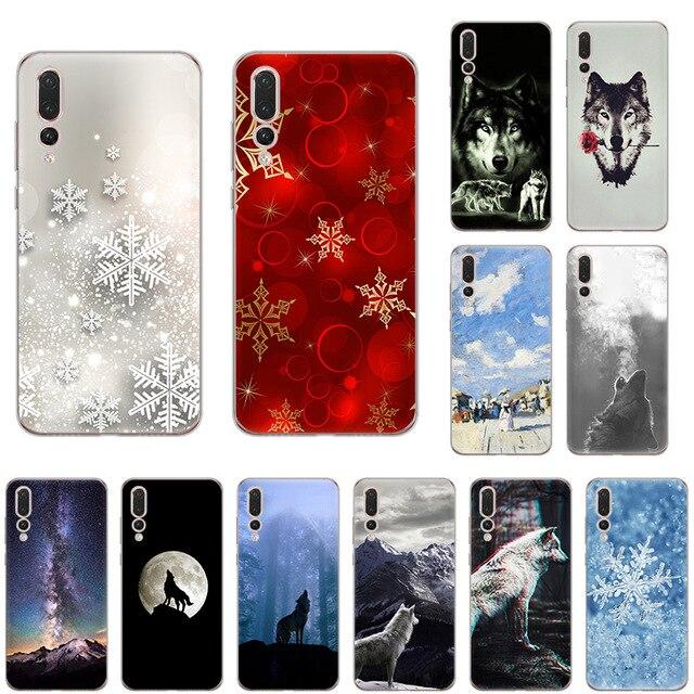 Cool hiver loup noël flocon de neige souple Silicone coque de téléphone pour huawei P30 P20 P9 P10 lite Mate 30 20 P-SMart2019 P10 P9 couverture